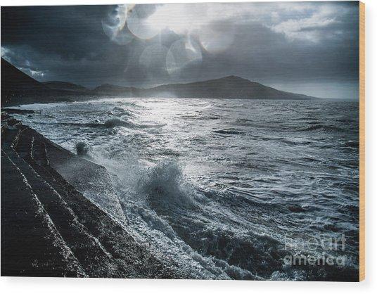 Stormy Seas At Tanybwlch Aberystwyth Wood Print
