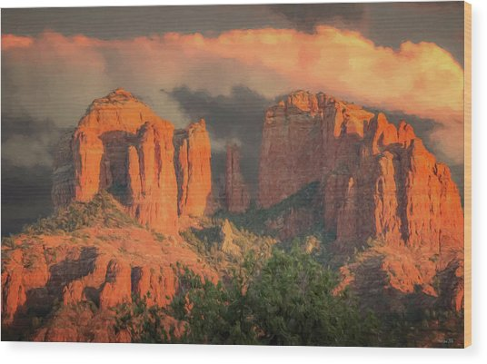 Stormy Sedona Sunset Wood Print