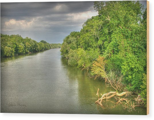 Stormy Skies Over The Coosa River Wood Print