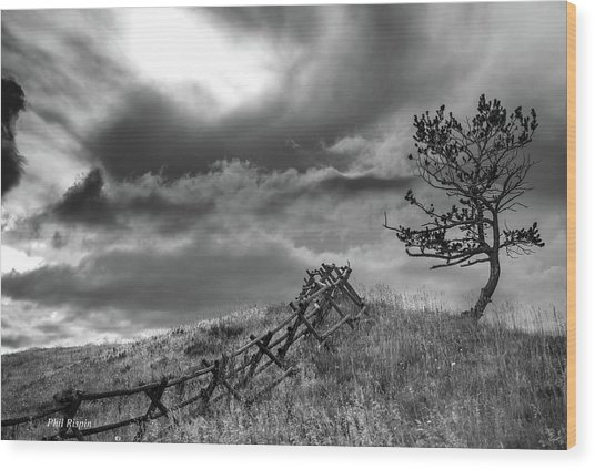 Stormy Sky At The Ranch Wood Print
