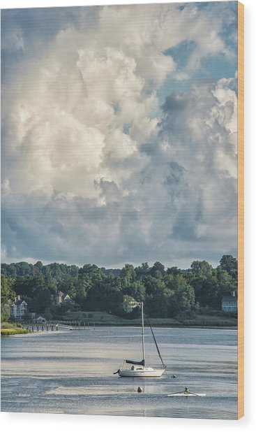 Stormy Sunday Morning On The Navesink River Wood Print
