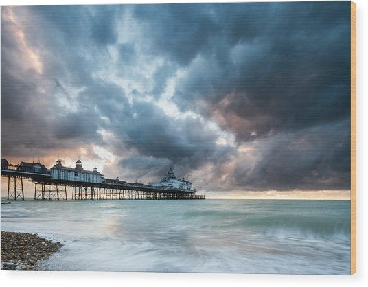 Stormy Sunrise Over Eastbourne Pier Wood Print