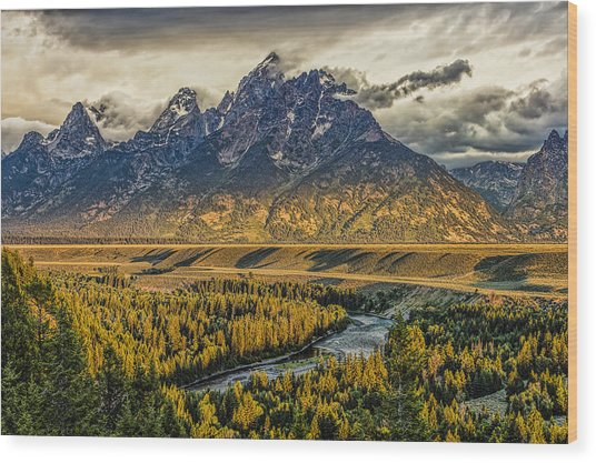 Stormy Sunrise Over The Grand Tetons And Snake River Wood Print