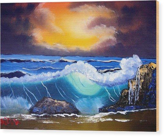 Stormy Sunset Shoreline Wood Print by Dina Sierra