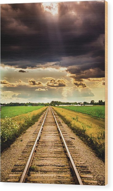Stormy Tracks Wood Print