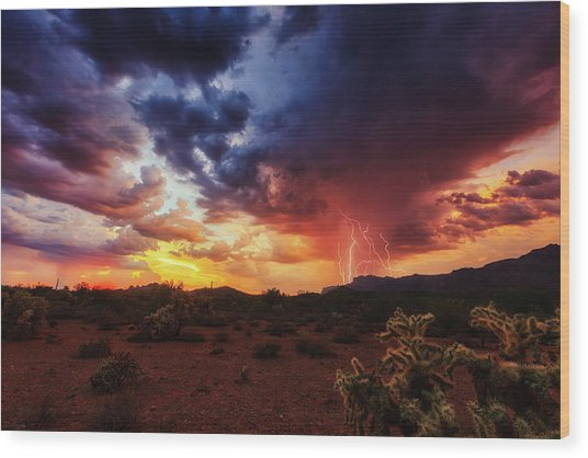 Wood Print featuring the photograph Stormy Twilight In The Desert by Rick Furmanek