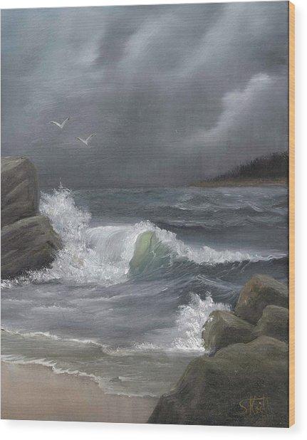 Stormy Waters Wood Print