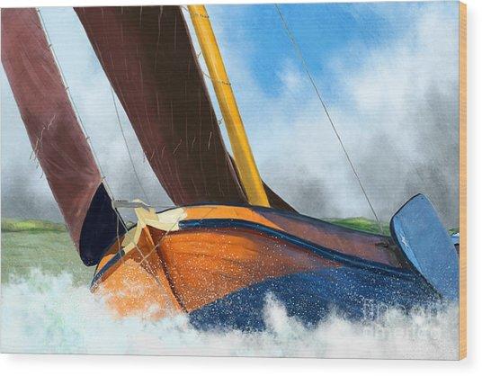 Stormy Weather Skutsje Sailing Ship Wood Print