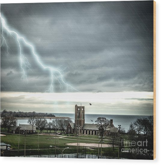 Stormy Wednesday Over Chicago Wood Print