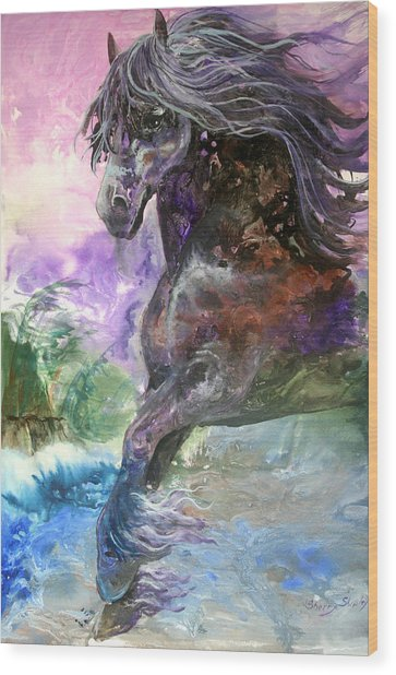 Stormy Wind Horse Wood Print
