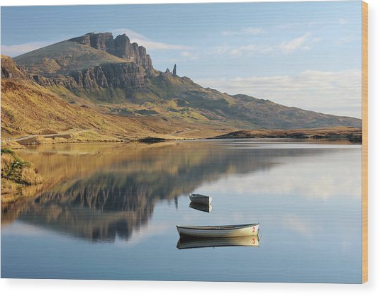Storr Reflection Wood Print