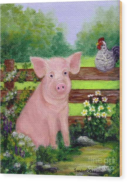 Storybook Pig Wood Print
