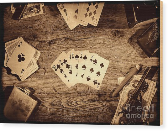 Straight Flush Wood Print