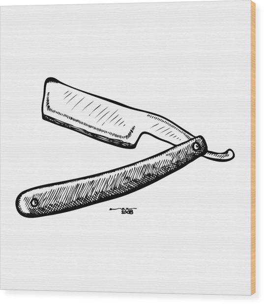 Straight Razor Wood Print by Karl Addison