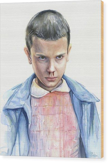 Stranger Things Eleven Portrait Wood Print