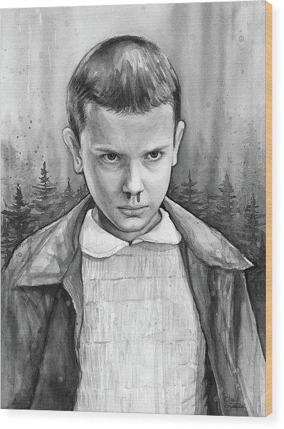 Stranger Things Fan Art Eleven Wood Print