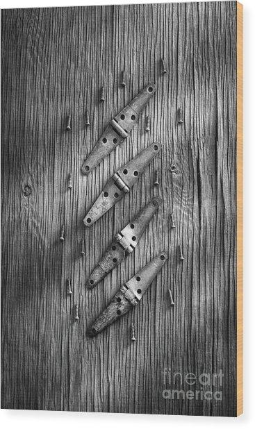 Strap Hinges And Screw Again Wood Print