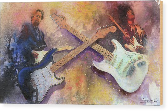 Wood Print featuring the painting Strat Brothers by Andrew King