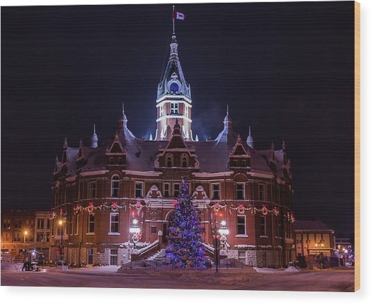 Stratford City Hall Christmas Wood Print