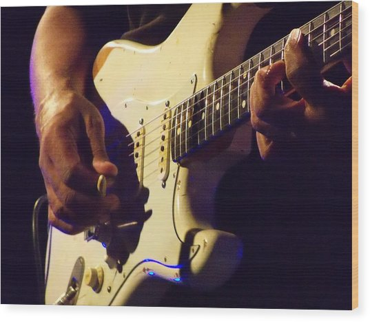 Stratocaster Blues Wood Print by Steve Pimpis