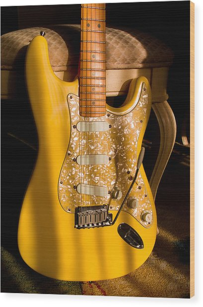 Stratocaster Plus In Graffiti Yellow Wood Print