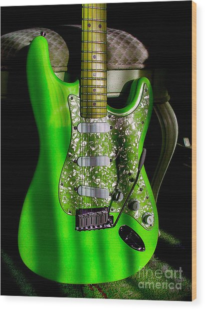 Stratocaster Plus In Green Wood Print