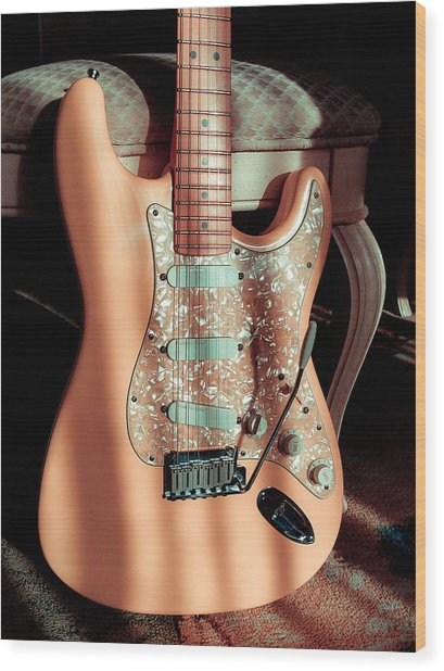 Stratocaster Plus In Shell Pink Wood Print