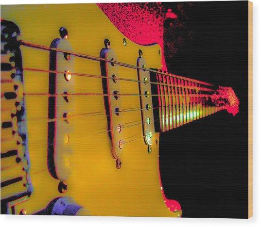 Wood Print featuring the photograph Guitar Pop Art Hot Rasberry Fire Neck Series by Guitar Wacky