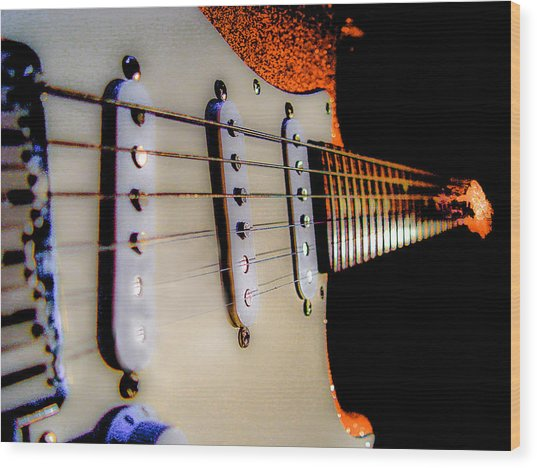 Stratocaster Pop Art Tangerine Sparkle Fire Neck Series Wood Print