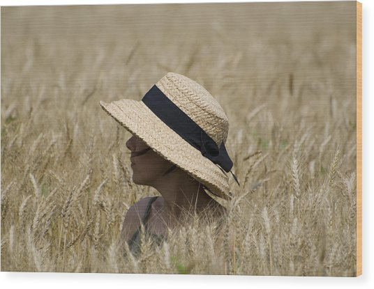 Straw Hat Wood Print