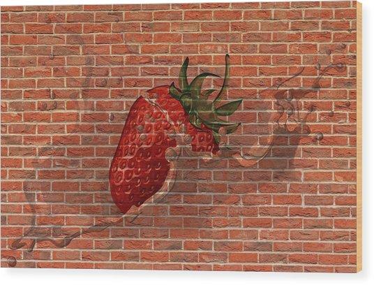 Strawberries And Cream Amazing Graffiti Wood Print