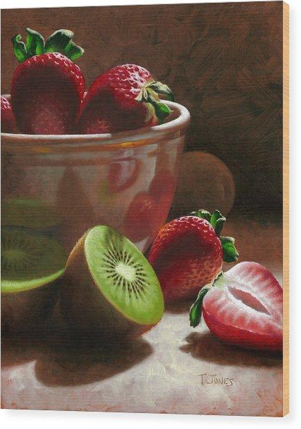 Strawberries And Kiwis Wood Print