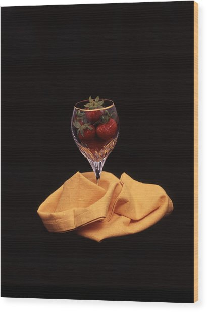 Strawberries In A Glass Wood Print by Ayesha  Lakes