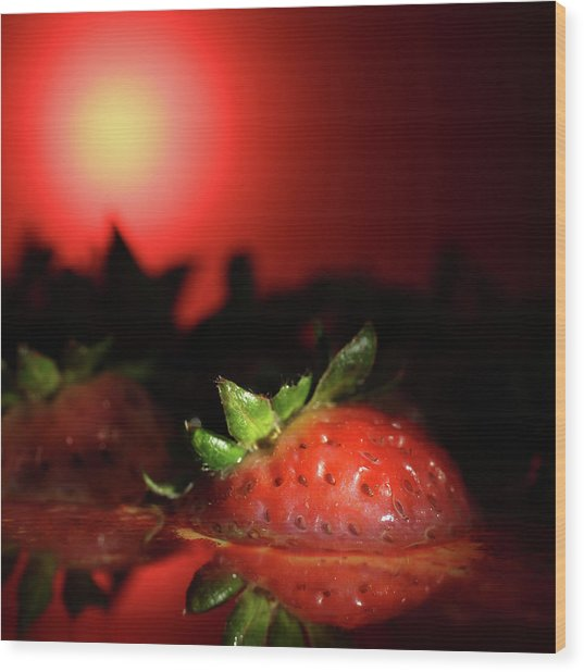 Strawberries In Motor Oil Wood Print