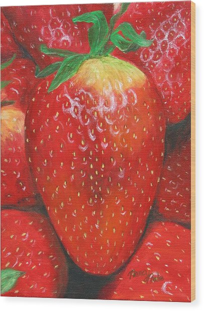 Wood Print featuring the painting Strawberries by Nancy Nale