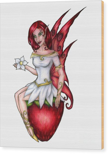 Strawberry Fairy Drawing Wood Print