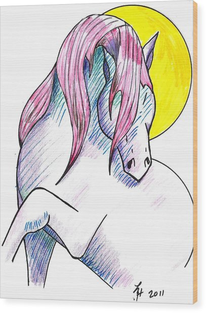 Strawberry Horse Wood Print