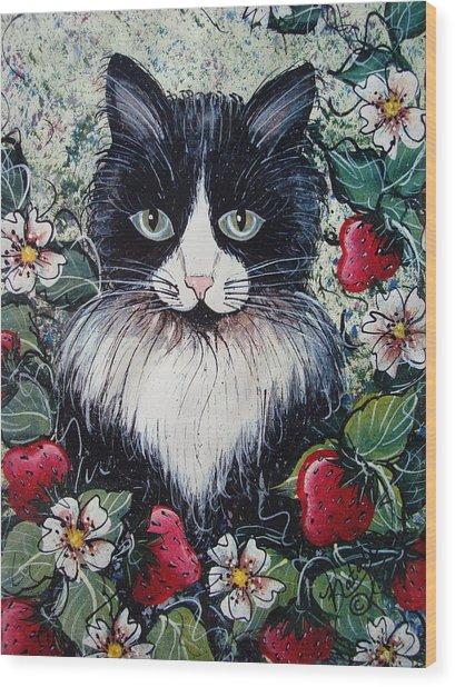 Strawberry Lover Cat Wood Print