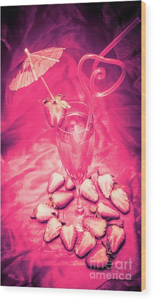 Strawberry Martini In Pink Light Wood Print