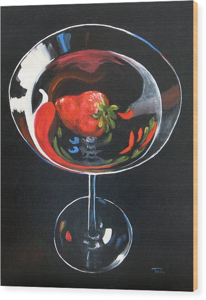 Strawberry Martini Wood Print by Torrie Smiley