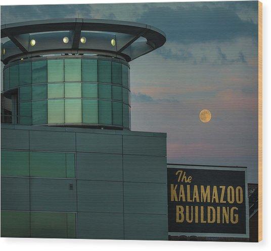 Strawberry Moonrise Over Kalamazoo Wood Print