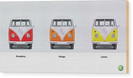 Strawberry. Orange. Lemon. Wood Print