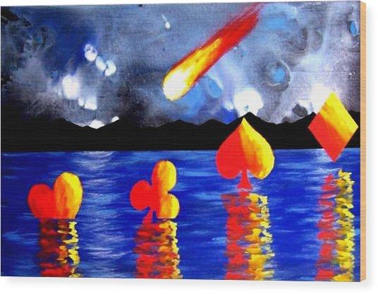 Streaking Comet Poker Art Wood Print by Teo Alfonso