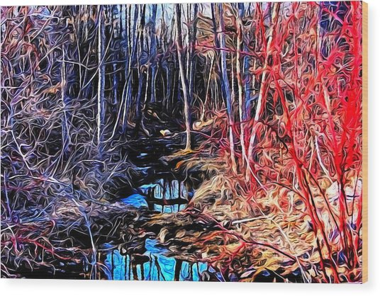 Stream Red And Blue Wood Print