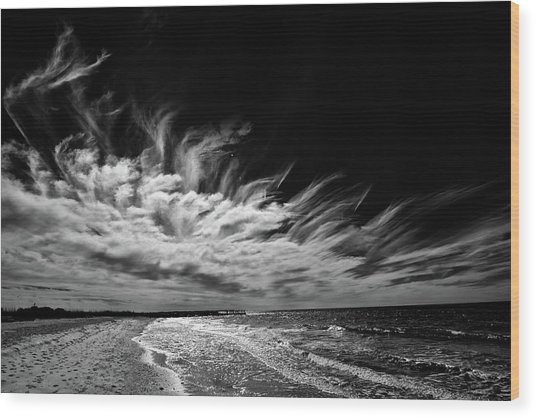 Streaming Clouds Wood Print