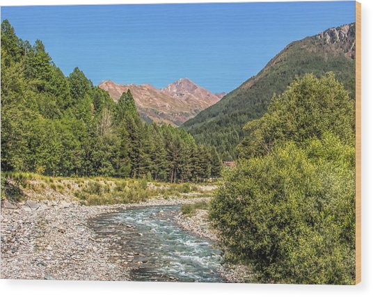 Streaming Through The Alps Wood Print