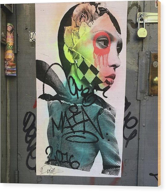 Street Art On West Broadway. #tribeca Wood Print by Gina Callaghan