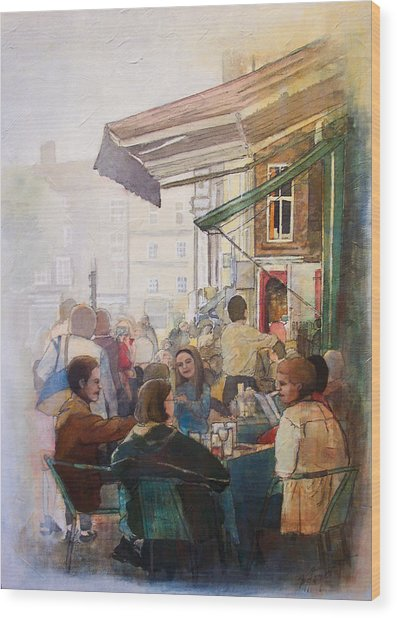Street Cafe Wood Print by Victoria Heryet