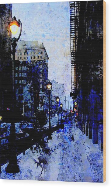 Street Lamps Sidewalk Abstract Wood Print