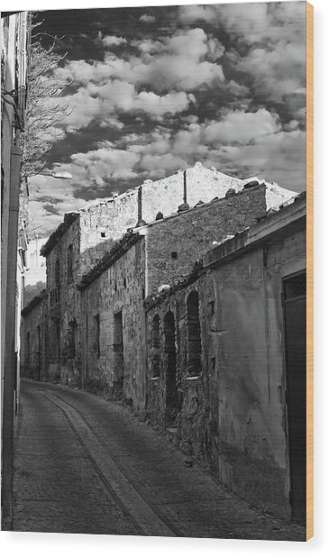 Street Little Town Wood Print